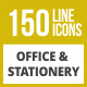 150 Office & Stationery Line Inverted Icons - GraphicRiver Item for Sale