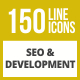 150 SEO & Development Line Inverted Icons - GraphicRiver Item for Sale