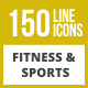 150 Fitness & Sports Line Inverted Icons - GraphicRiver Item for Sale