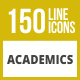 150 Academics Line Inverted Icons - GraphicRiver Item for Sale
