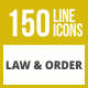 150 Law & Order Line Inverted Icons - GraphicRiver Item for Sale