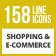 158 Shopping & E-Commerce Line Inverted Icons - GraphicRiver Item for Sale
