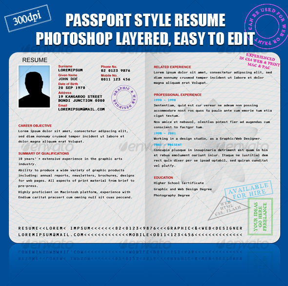 RESUME/CV PASSPORT STYLE - Resumes Stationery