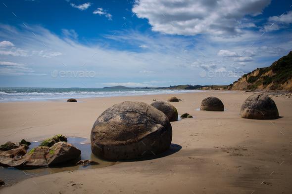 Moeraki boulders geological phenomena - Stock Photo - Images