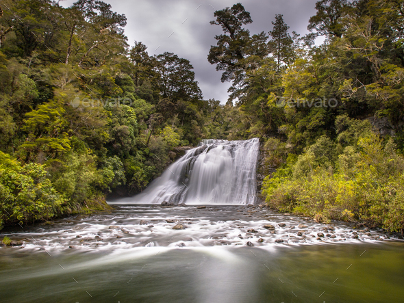 Forest waterfall long exposure - Stock Photo - Images