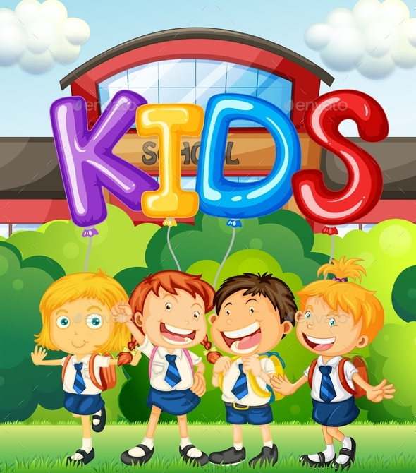 Students At School And Word For Kids - People Characters