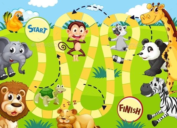 Jungle Animal Board Game Template - Animals Characters