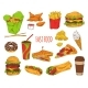 Fast Food Dishes Collection Vector Illustration - GraphicRiver Item for Sale