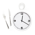 Fork, knife, glass, and white round clock - PhotoDune Item for Sale