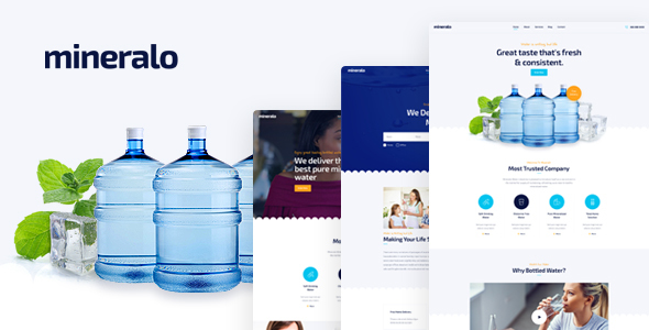 Mineralo - Bottled Water Delivery Service For Home & Office PSD Template - Business Corporate