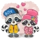 Two Cartoon Raccoons Boy and Girl - GraphicRiver Item for Sale