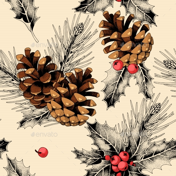 Seamless Pattern with Holly Leaves and Pine Cones - Patterns Decorative
