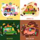 Food Trucks Concept Icons Set - GraphicRiver Item for Sale