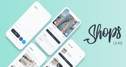 Shops - E-Commerce Mobile App Sketch Template