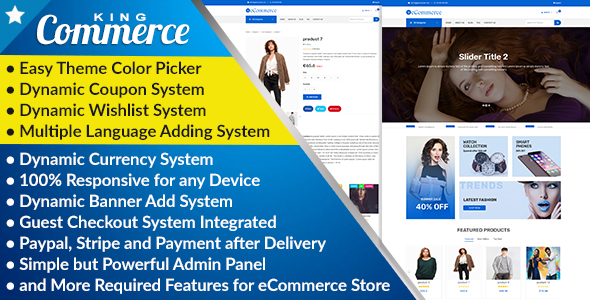 KingCommerce - All in One Single/Multi Vendor eCommerce Business Management System            Nulled