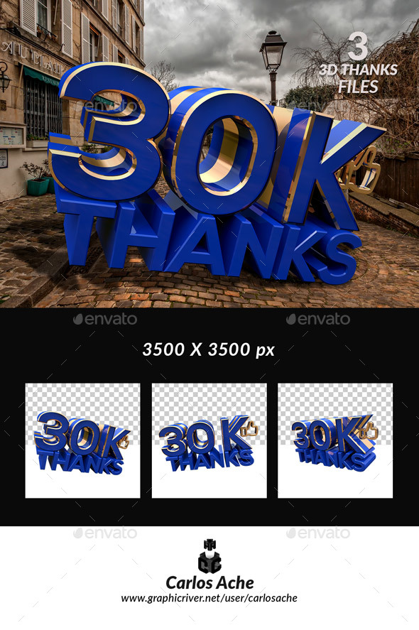 Facebook Like 30k - Text 3D Renders