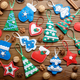 Assorted handmade rustic felt Christmas tree decorations with an - PhotoDune Item for Sale