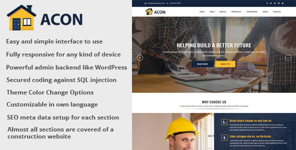 Acon - Architecture and Construction Website CMS - CodeCanyon Item for Sale