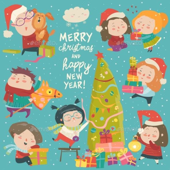 Happy Cartoon Children with Christmas Decor - Christmas Seasons/Holidays