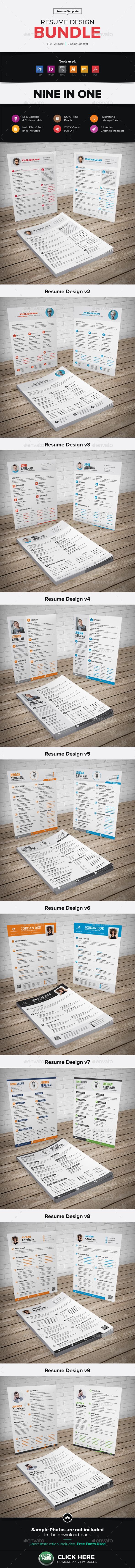 Resume CV Design Bundle - Resumes Stationery