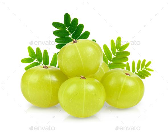 Indian gooseberry isolated on white background - Stock Photo - Images
