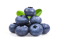 Blueberries with green leaves closeup, isolated on white backgro - PhotoDune Item for Sale