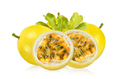 yellow passion fruit with leaf on white background - PhotoDune Item for Sale