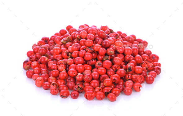 pink peppercorns seeds isolated on white background - Stock Photo - Images