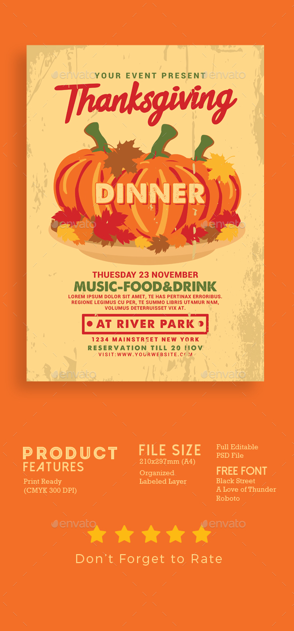 Thanksgiving Dinner Flyer - Events Flyers