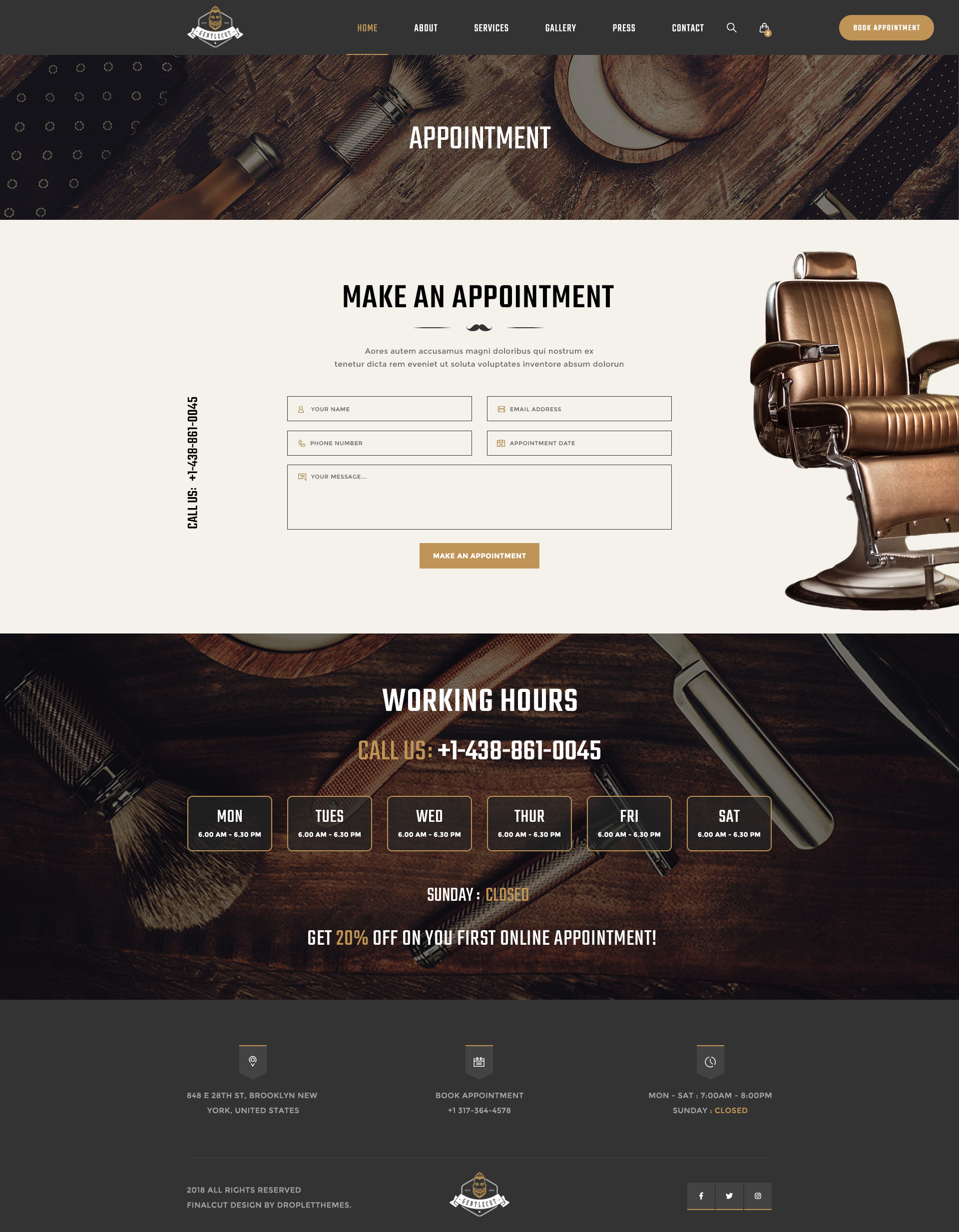 Gentlecut - Barbershop and Hairdressers PSD Template