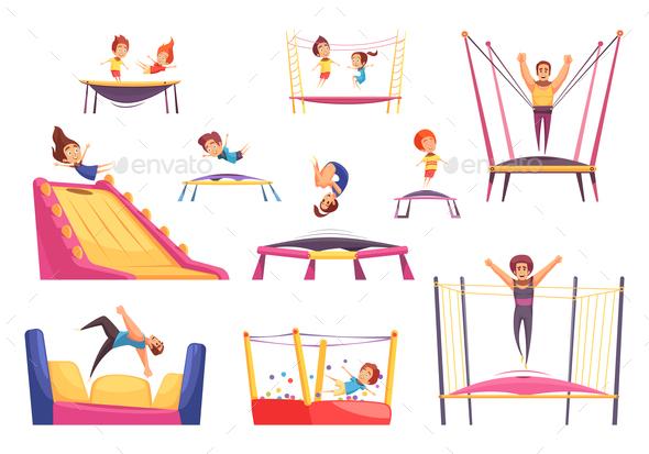 Jumping Trampolines Essentials Set - Sports/Activity Conceptual