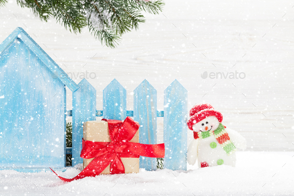 Christmas Snowman Toy Gift Box And Fir Tree Branch