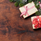 Christmas gift boxes and fir tree branch - PhotoDune Item for Sale