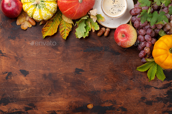 Autumn with pumpkins and fruits - Stock Photo - Images