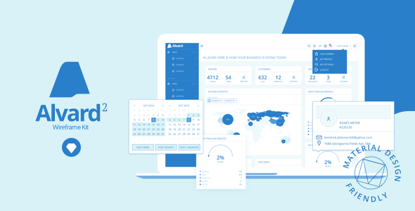 Alvard 2 | Wireframe UI Kit - Collection of Symbols and Templates for Sketch - Sketch Templates