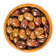 Pitted Taggiasca olives in wooden bowl over white - PhotoDune Item for Sale