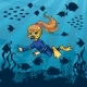 Diver Girl Undersea - GraphicRiver Item for Sale