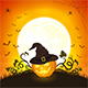 Halloween Pumpkin with Hat on Orange Background - GraphicRiver Item for Sale