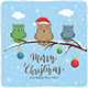 Owls  and Lettering Merry Christmas on Winter Background - GraphicRiver Item for Sale