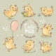 Set of Yellow Pigs in Different Poses - GraphicRiver Item for Sale