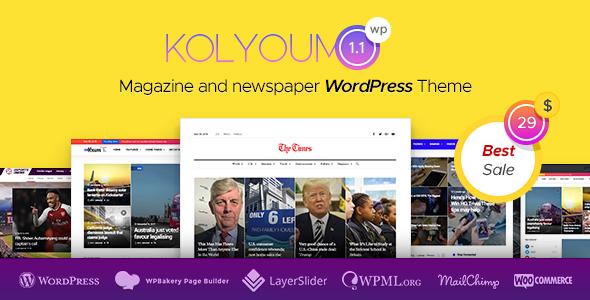Kolyoum — Newspaper WordPress Theme - News / Editorial Blog / Magazine