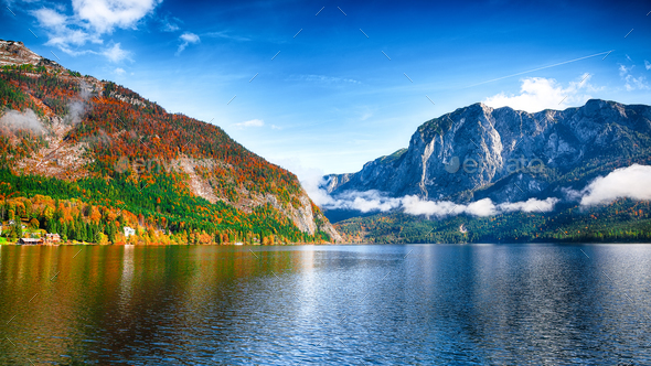 Sunny morning on the lake Altausseer See Alps Austria Europe - Stock Photo - Images