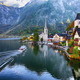 Scenic view of famous Hallstatt mountain village with Hallstatte - PhotoDune Item for Sale