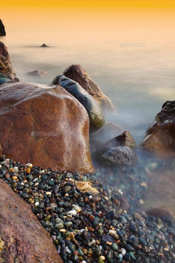 Beautiful natural seascape at long exposure. - Stock Photo - Images