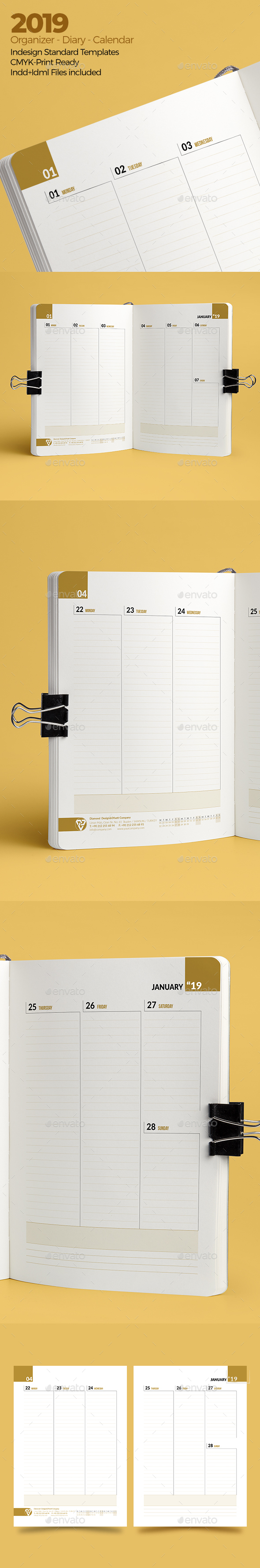 Weekly Diary Planner 2019 v3 - Calendars Stationery