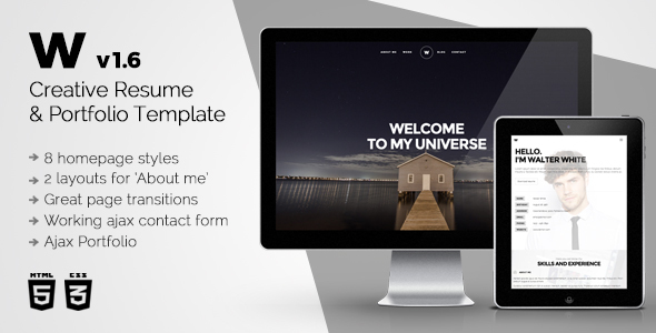 White - Creative Resume & Portfolio Template - Resume / CV Specialty Pages