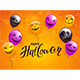 Happy Halloween with Balloons and Confetti on Orange Background - GraphicRiver Item for Sale