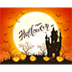Happy Halloween with Castle and Smiling Pumpkins - GraphicRiver Item for Sale