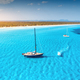 Aerial view of floating sailboat and motorboat in transparent sea - PhotoDune Item for Sale