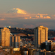 Fighter Jet Flies Over Seattle in the Distance during Mount Rainier Sunset - PhotoDune Item for Sale